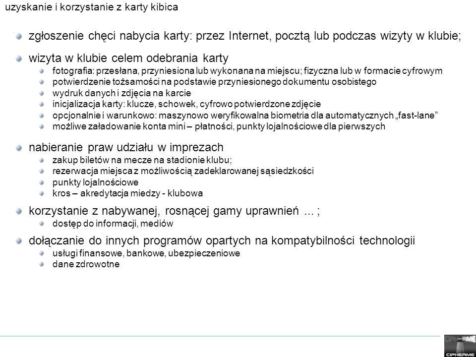 podstawowe elementy karty uczestnika masowego wydarzenia sportowego kryptograficznie potwierdzanie i weryfikacja tożsamości; efektywna kontrola uprawnień: wydawanie, uaktualnianie, weryfikacja, usuwanie, … interfejsy z systemami instytucji państwowych w Polsce dla reszty świata; narzędzia interakcji z organizacjami sportowymi: akredytacje, uprawnienia,...