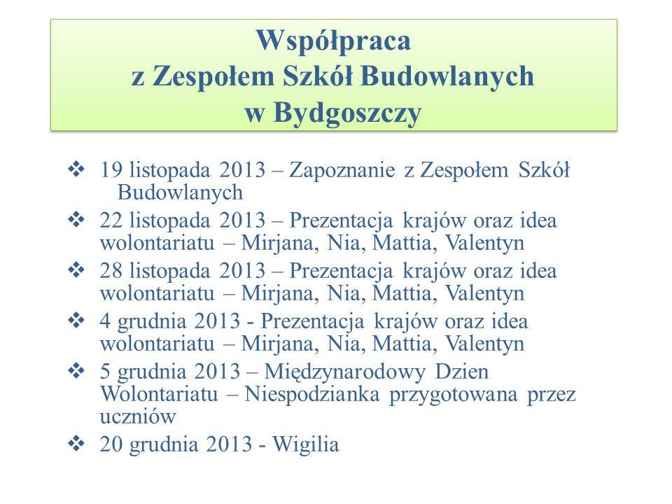 Współpraca z Zespołem Szkół Budowlanych w Bydgoszczy 19 listopada 2013 – Zapoznanie z Zespołem Szkół Budowlanych 22 listopada 2013 – Prezentacja krajó