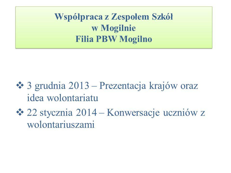 Współpraca z Zespołem Szkół w Mogilnie Filia PBW Mogilno 3 grudnia 2013 – Prezentacja krajów oraz idea wolontariatu 22 stycznia 2014 – Konwersacje ucz