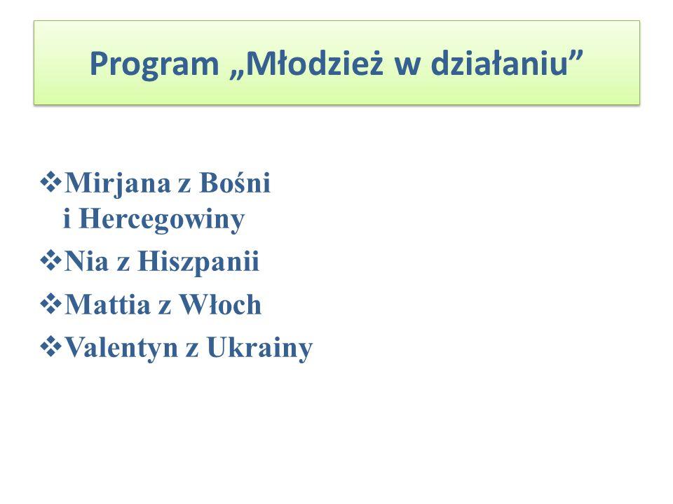 Program Młodzież w działaniu Mirjana z Bośni i Hercegowiny Nia z Hiszpanii Mattia z Włoch Valentyn z Ukrainy