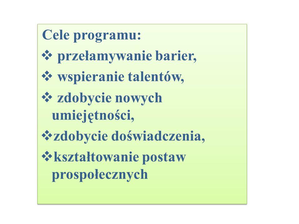 Cele programu: przełamywanie barier, wspieranie talentów, zdobycie nowych umiejętności, zdobycie doświadczenia, kształtowanie postaw prospołecznych Ce