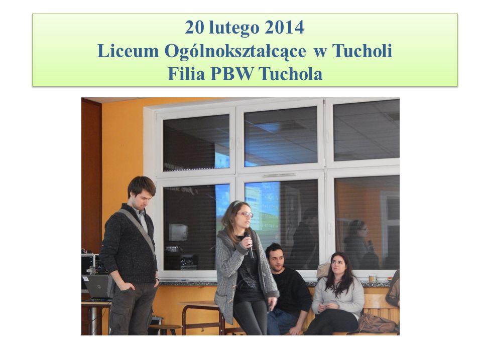 20 lutego 2014 Liceum Ogólnokształcące w Tucholi Filia PBW Tuchola