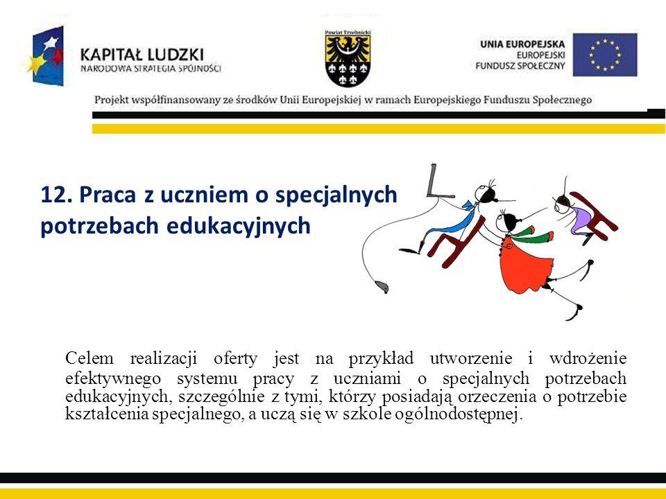 12. Praca z uczniem o specjalnych potrzebach edukacyjnych Celem realizacji oferty jest na przykład utworzenie i wdrożenie efektywnego systemu pracy z