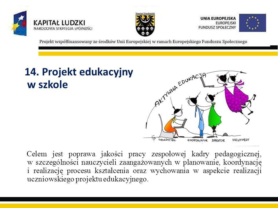 14. Projekt edukacyjny w szkole Celem jest poprawa jakości pracy zespołowej kadry pedagogicznej, w szczególności nauczycieli zaangażowanych w planowan