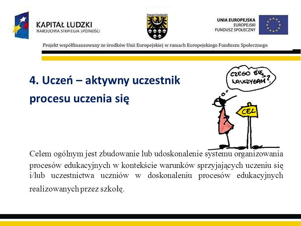 4. Uczeń – aktywny uczestnik procesu uczenia się Celem ogólnym jest zbudowanie lub udoskonalenie systemu organizowania procesów edukacyjnych w kontekś