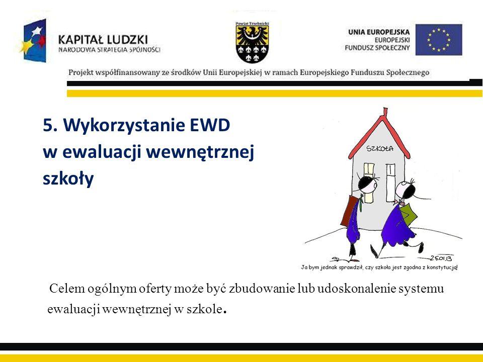 5. Wykorzystanie EWD w ewaluacji wewnętrznej szkoły Celem ogólnym oferty może być zbudowanie lub udoskonalenie systemu ewaluacji wewnętrznej w szkole.