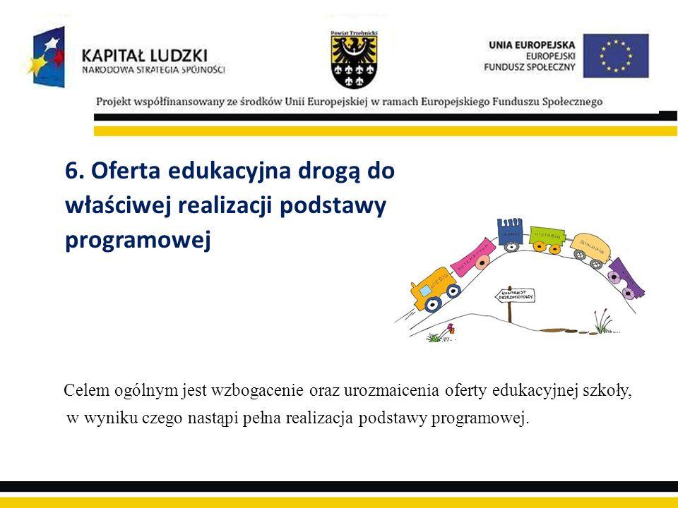 6. Oferta edukacyjna drogą do właściwej realizacji podstawy programowej Celem ogólnym jest wzbogacenie oraz urozmaicenia oferty edukacyjnej szkoły, w