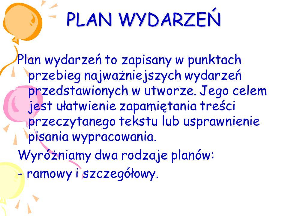 PLAN WYDARZEŃ Plan wydarzeń to zapisany w punktach przebieg najważniejszych wydarzeń przedstawionych w utworze.