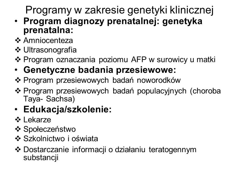 Programy w zakresie genetyki klinicznej Program diagnozy prenatalnej: genetyka prenatalna: Amniocenteza Ultrasonografia Program oznaczania poziomu AFP