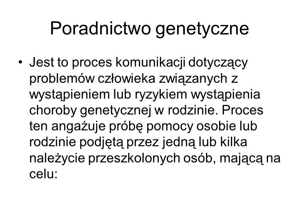 Poradnictwo genetyczne Jest to proces komunikacji dotyczący problemów człowieka związanych z wystąpieniem lub ryzykiem wystąpienia choroby genetycznej