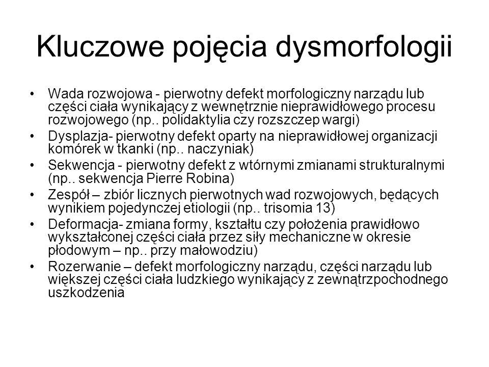 Kluczowe pojęcia dysmorfologii Wada rozwojowa - pierwotny defekt morfologiczny narządu lub części ciała wynikający z wewnętrznie nieprawidłowego procesu rozwojowego (np..