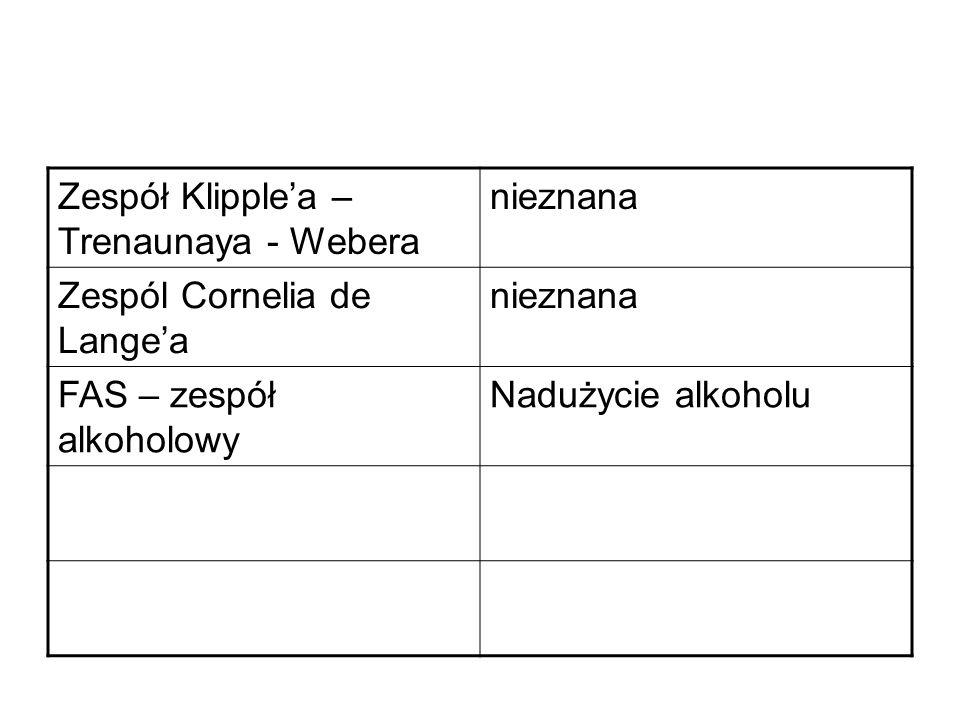 Zespół Klipplea – Trenaunaya - Webera nieznana Zespól Cornelia de Langea nieznana FAS – zespół alkoholowy Nadużycie alkoholu