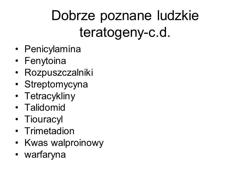 Dobrze poznane ludzkie teratogeny-c.d. Penicylamina Fenytoina Rozpuszczalniki Streptomycyna Tetracykliny Talidomid Tiouracyl Trimetadion Kwas walproin