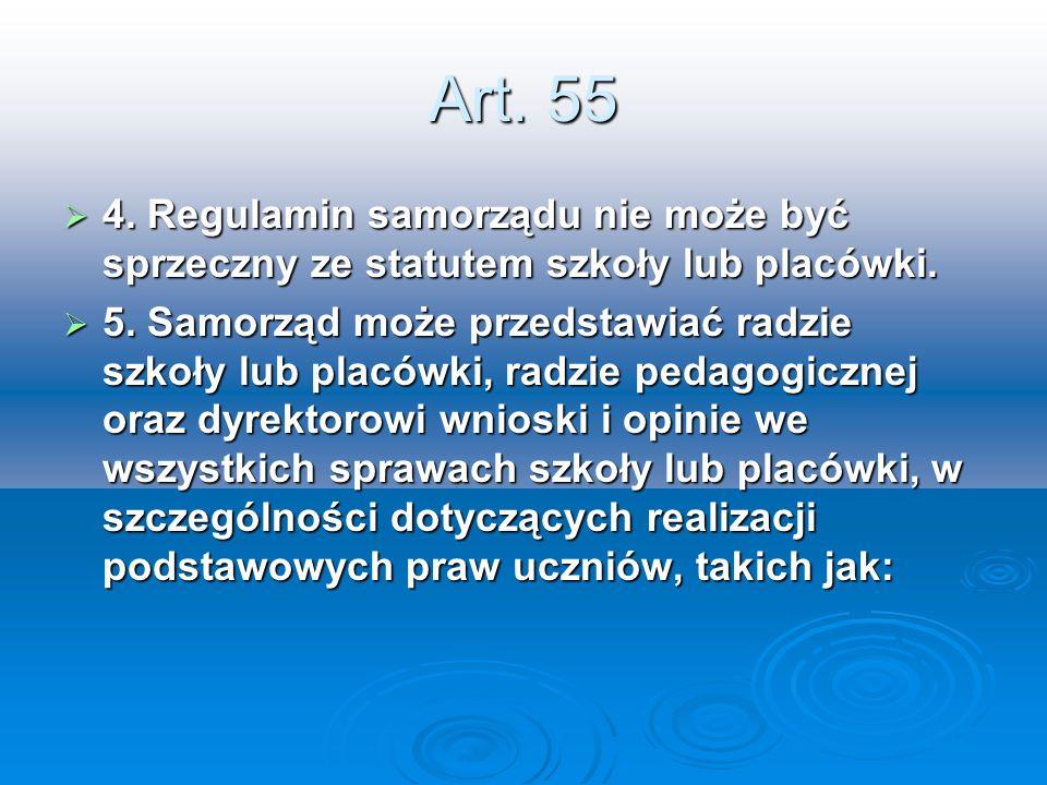 Art. 55 4. Regulamin samorządu nie może być sprzeczny ze statutem szkoły lub placówki. 4. Regulamin samorządu nie może być sprzeczny ze statutem szkoł