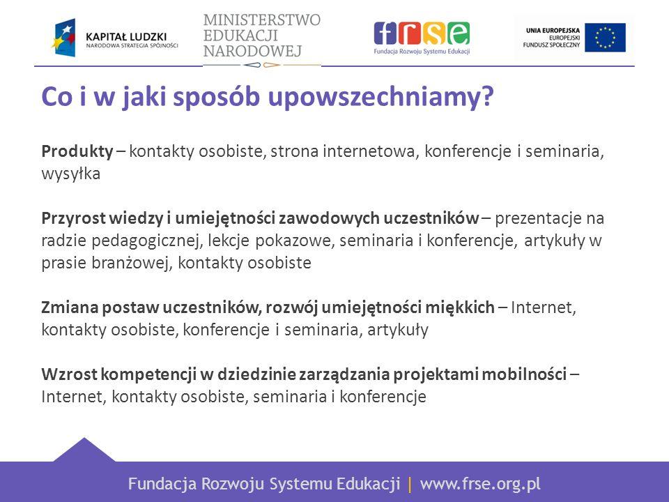 Fundacja Rozwoju Systemu Edukacji | www.frse.org.pl Co i w jaki sposób upowszechniamy.