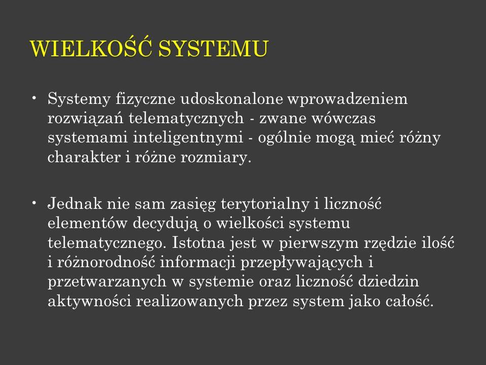 WIELKOŚĆ SYSTEMU Systemy fizyczne udoskonalone wprowadzeniem rozwiązań telematycznych - zwane wówczas systemami inteligentnymi - ogólnie mogą mieć róż