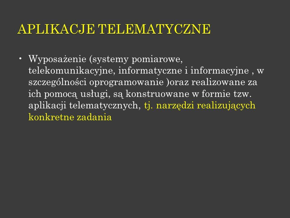 APLIKACJE TELEMATYCZNE Wyposażenie (systemy pomiarowe, telekomunikacyjne, informatyczne i informacyjne, w szczególności oprogramowanie )oraz realizowa