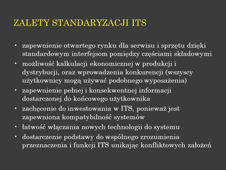 ZALETY STANDARYZACJI ITS zapewnienie otwartego rynku dla serwisu i sprzętu dzięki standardowym interfejsom pomiędzy częściami składowymi możliwość kal