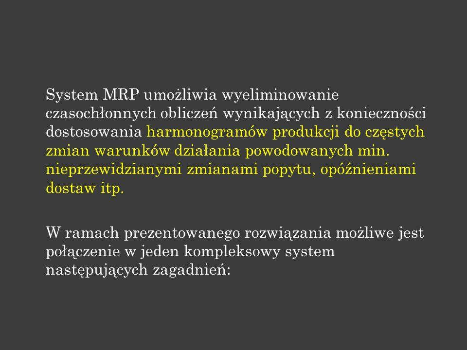 System MRP umożliwia wyeliminowanie czasochłonnych obliczeń wynikających z konieczności dostosowania harmonogramów produkcji do częstych zmian warunkó