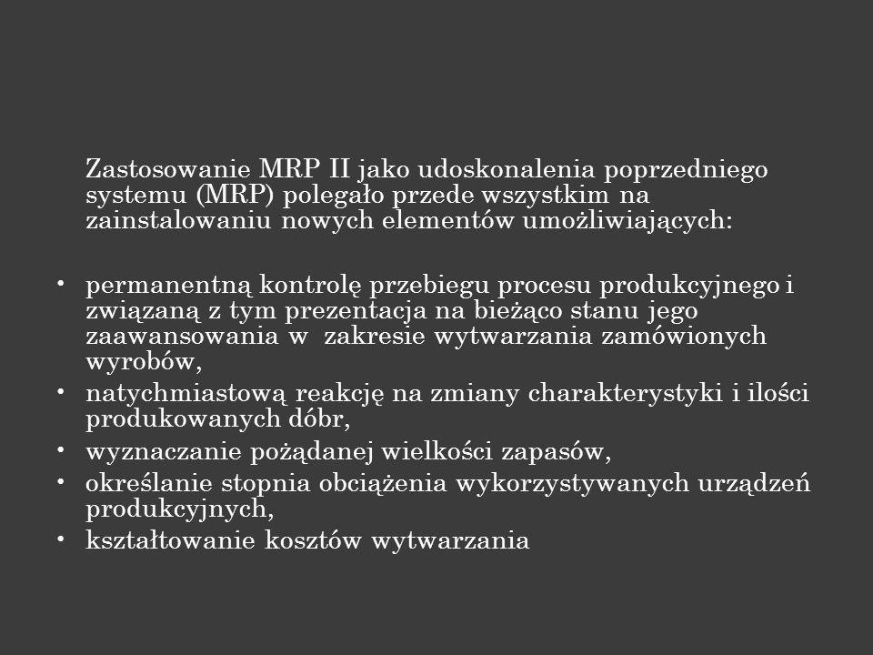 Zastosowanie MRP II jako udoskonalenia poprzedniego systemu (MRP) polegało przede wszystkim na zainstalowaniu nowych elementów umożliwiających: perman