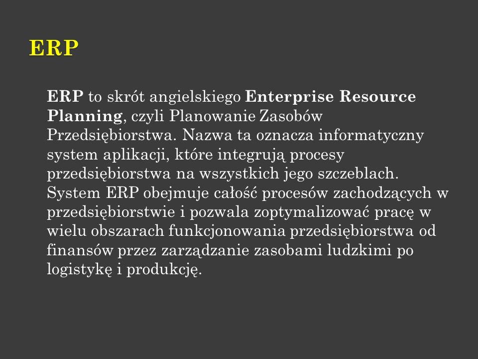 ERP ERP to skrót angielskiego Enterprise Resource Planning, czyli Planowanie Zasobów Przedsiębiorstwa. Nazwa ta oznacza informatyczny system aplikacji