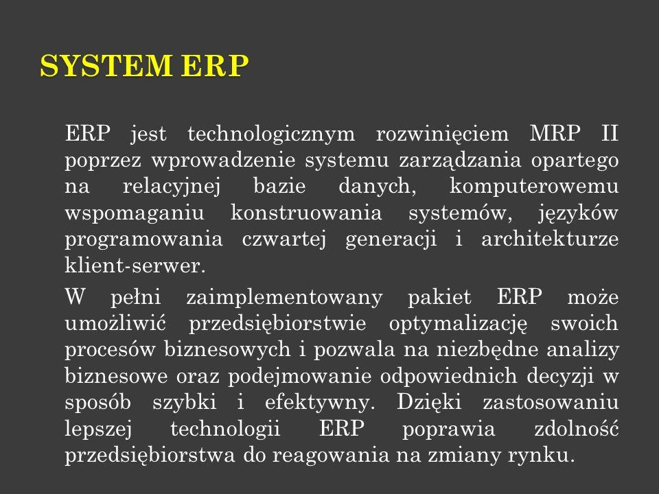 SYSTEM ERP ERP jest technologicznym rozwinięciem MRP II poprzez wprowadzenie systemu zarządzania opartego na relacyjnej bazie danych, komputerowemu ws