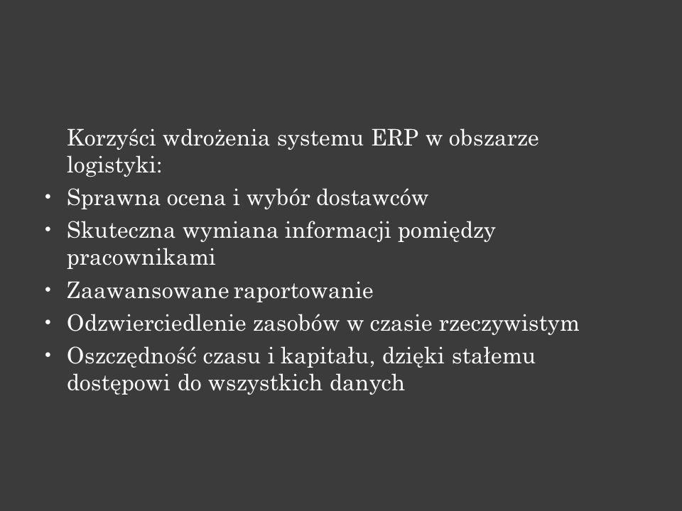 Korzyści wdrożenia systemu ERP w obszarze logistyki: Sprawna ocena i wybór dostawców Skuteczna wymiana informacji pomiędzy pracownikami Zaawansowane r
