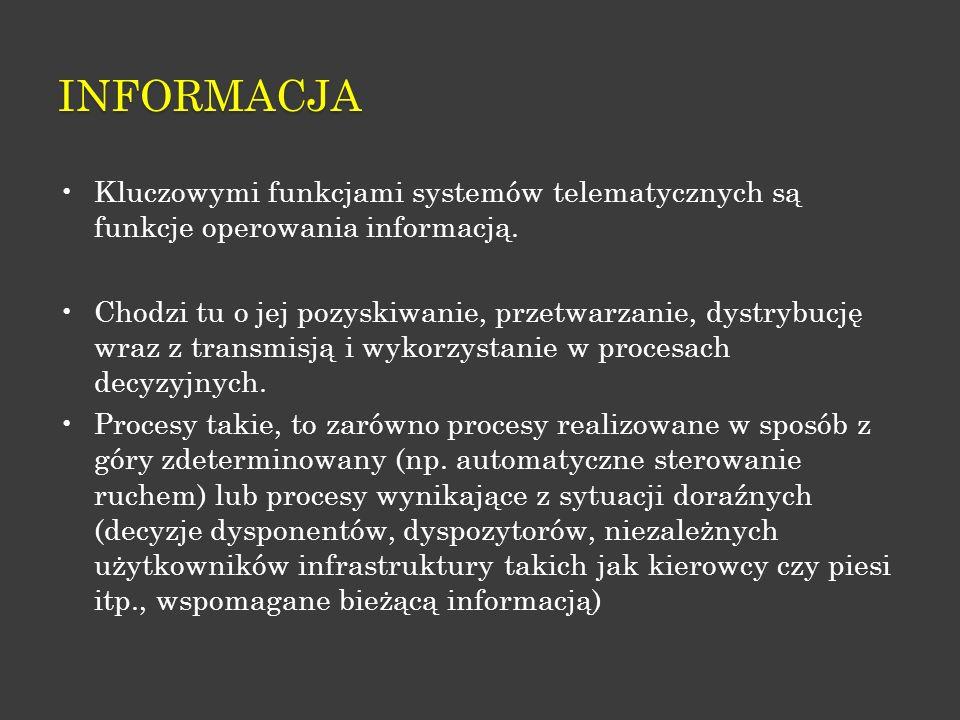 INFORMACJA Kluczowymi funkcjami systemów telematycznych są funkcje operowania informacją. Chodzi tu o jej pozyskiwanie, przetwarzanie, dystrybucję wra
