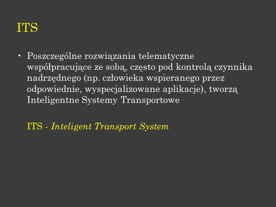 W ZAKRESIE ITS OBSZARAMI DZIAŁAŃ STANDARYZUJĄCYCH SĄ : informacja o ruchu i jego sterowaniu; automatyczna identyfikacja pojazdów; urządzenia pobierania opłat, zarządzanie flotą pojazdów, rozwiązania na rzecz ochrony środowiska, systemy przeciw wypadkowe, nawigacja i komunikacja