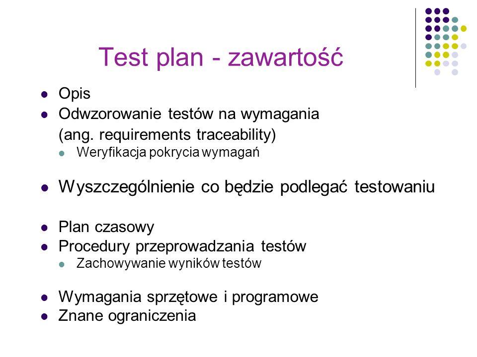 Test plan - zawartość Opis Odwzorowanie testów na wymagania (ang. requirements traceability) Weryfikacja pokrycia wymagań Wyszczególnienie co będzie p