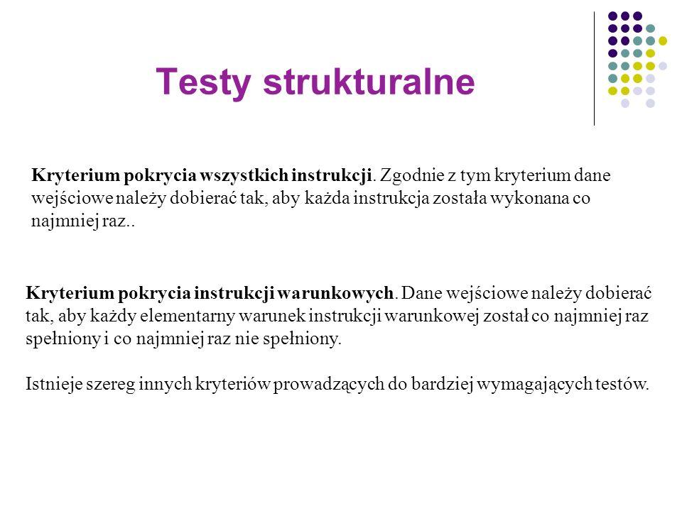 Testy strukturalne Kryterium pokrycia wszystkich instrukcji. Zgodnie z tym kryterium dane wejściowe należy dobierać tak, aby każda instrukcja została