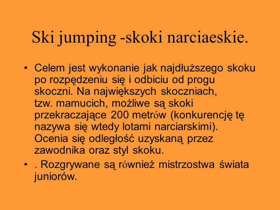 Ski jumping -skoki narciaeskie. Celem jest wykonanie jak najdłuższego skoku po rozpędzeniu się i odbiciu od progu skoczni. Na największych skoczniach,