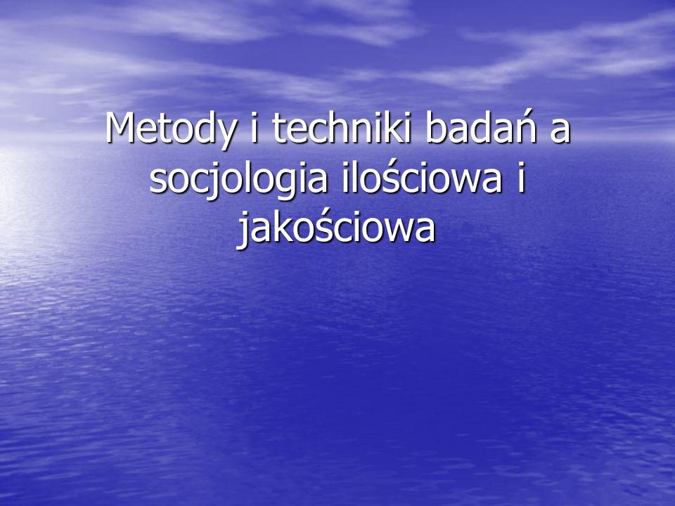 Metody badań socjologicznych Metody ilościowe Metody ilościowe Metody jakościowe Metody jakościowe