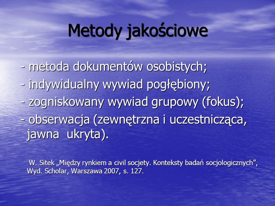 Metody jakościowe - metoda dokumentów osobistych; - metoda dokumentów osobistych; - indywidualny wywiad pogłębiony; - indywidualny wywiad pogłębiony; - zogniskowany wywiad grupowy (fokus); - zogniskowany wywiad grupowy (fokus); - obserwacja (zewnętrzna i uczestnicząca, jawna ukryta).