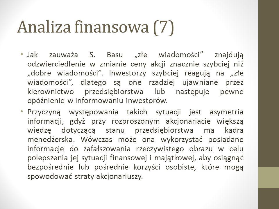 Analiza finansowa (7) Jak zauważa S.