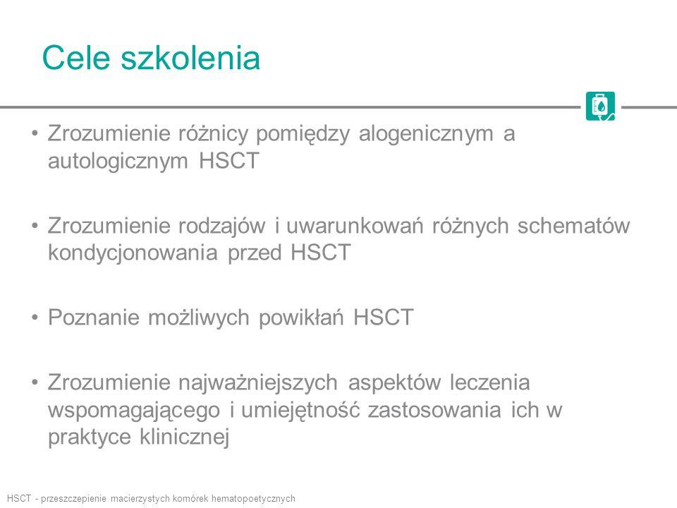 Przeszczepienie macierzystych komórek hematopoetycznych Przeszczepienie macierzystych komórek hematopoetycznych (HSCT) –Wcześniej nazywane przeszczepieniem szpiku (BMT) –Przeszczepienie multipotencjalnych macierzystych komórek hematopoetycznych pochodzących zwykle ze szpiku, krwi obwodowej lub krwi pępowinowej –Przeszczepiane w celu przywrócenia czynności hematopoetycznej u chorych z uszkodzeniem lub niewydolnością układu krwiotwórczego –Chorzy na nowotwory złośliwe wymagają HSCT w celu ochrony szpiku przed toksycznym działaniem chemioterapii –Celem HSCT u chorych na choroby nienowotworowe jest zastąpienie niefunkcjonującego lub uszkodzonego szpiku HSCT klasyfikuje się w zależności od typu dawcy –Autologiczny: z własnego szpiku chorego –Alogeniczny: od innej osoby, spokrewnionej lub niespokrewnionej, wybranej na podstawie zgodności HLA HLA - ludzki antygen leukocytarny; IV, dożylnie; SCID, ciężki złożony niedobór odporności Saria MG i in.