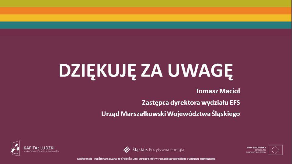 Konferencja współfinansowana ze środków Unii Europejskiej w ramach Europejskiego Funduszu Społecznego DZIĘKUJĘ ZA UWAGĘ Tomasz Macioł Zastępca dyrektora wydziału EFS Urząd Marszałkowski Województwa Śląskiego
