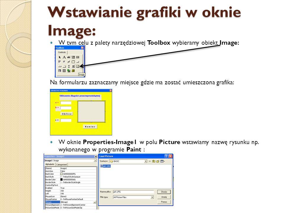 Wstawianie grafiki w oknie Image: W tym celu z palety narzędziowej Toolbox wybieramy obiekt Image: Na formularzu zaznaczamy miejsce gdzie ma zostać um