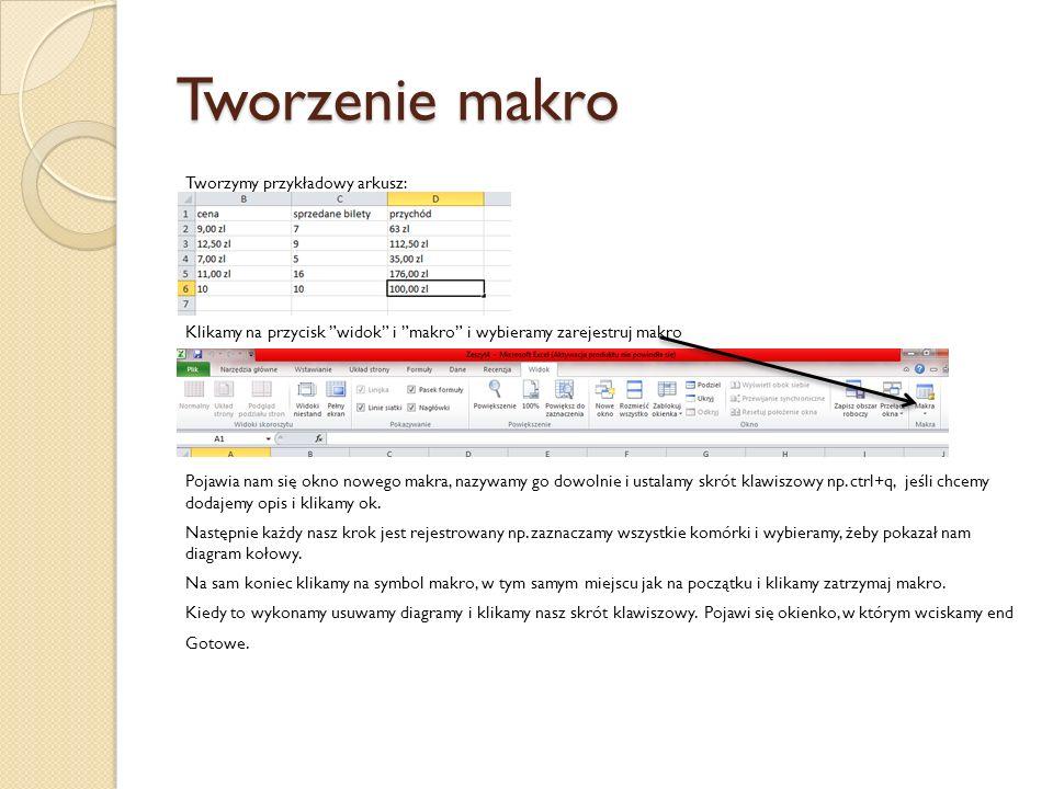 Tworzenie makro Tworzymy przykładowy arkusz: Klikamy na przycisk widok i makro i wybieramy zarejestruj makro Pojawia nam się okno nowego makra, nazywa