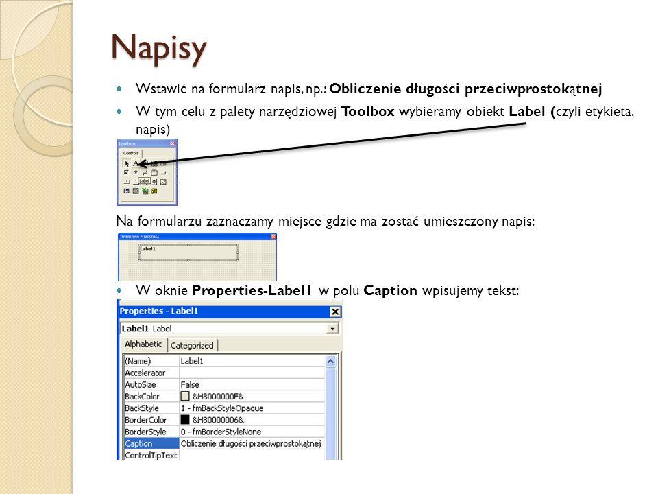 Napisy Wstawić na formularz napis, np.: Obliczenie długości przeciwprostokątnej W tym celu z palety narzędziowej Toolbox wybieramy obiekt Label (czyli