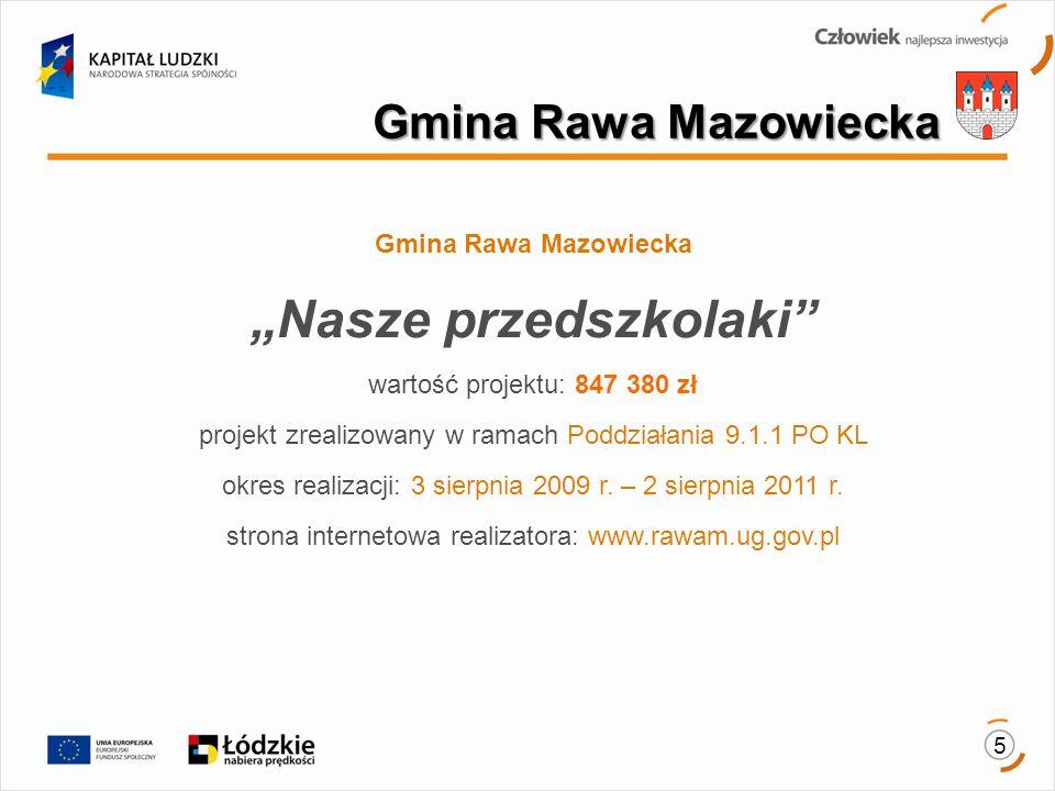 5 Gmina Rawa Mazowiecka Nasze przedszkolaki wartość projektu: 847 380 zł projekt zrealizowany w ramach Poddziałania 9.1.1 PO KL okres realizacji: 3 sierpnia 2009 r.