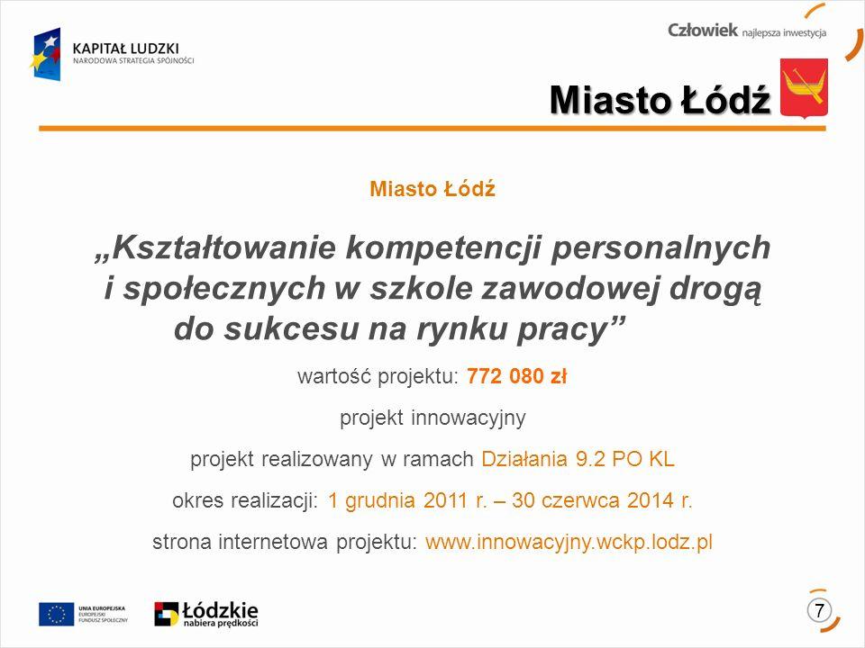 7 Miasto Łódź Kształtowanie kompetencji personalnych i społecznych w szkole zawodowej drogą do sukcesu na rynku pracy wartość projektu: 772 080 zł projekt innowacyjny projekt realizowany w ramach Działania 9.2 PO KL okres realizacji: 1 grudnia 2011 r.