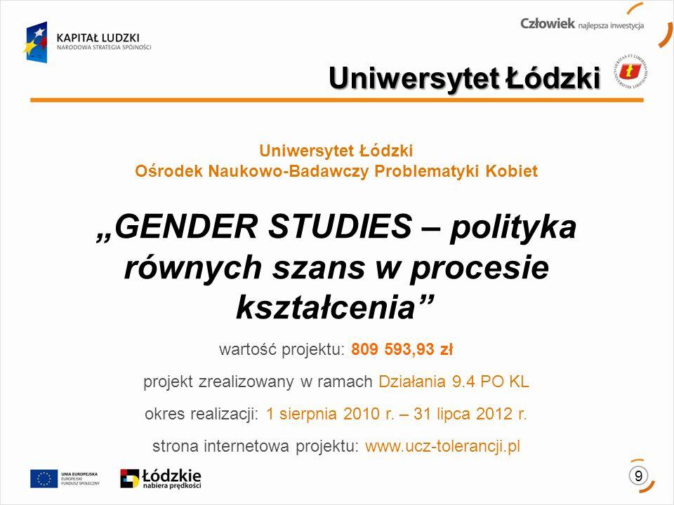 9 Uniwersytet Łódzki Ośrodek Naukowo-Badawczy Problematyki Kobiet GENDER STUDIES – polityka równych szans w procesie kształcenia wartość projektu: 809 593,93 zł projekt zrealizowany w ramach Działania 9.4 PO KL okres realizacji: 1 sierpnia 2010 r.