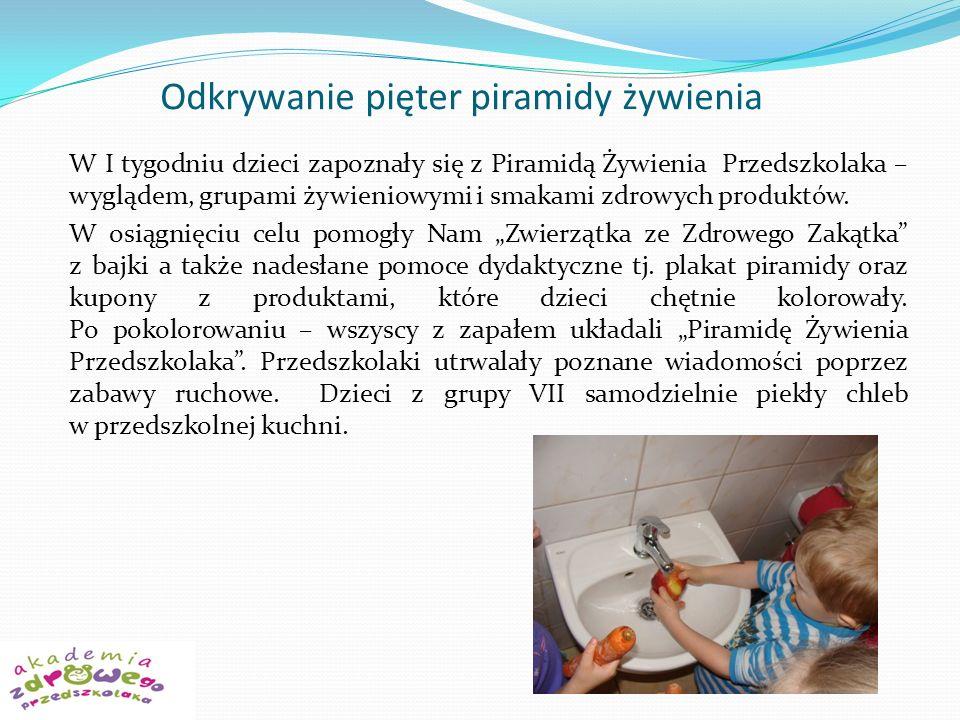 Odkrywanie pięter piramidy żywienia W I tygodniu dzieci zapoznały się z Piramidą Żywienia Przedszkolaka – wyglądem, grupami żywieniowymi i smakami zdrowych produktów.