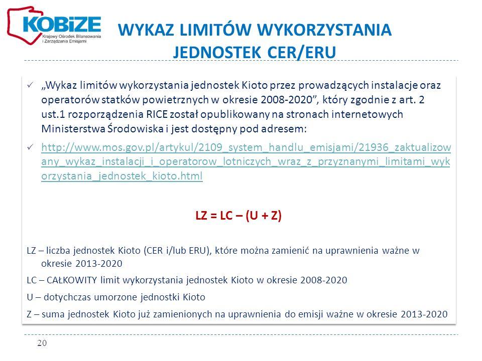 WYKAZ LIMITÓW WYKORZYSTANIA JEDNOSTEK CER/ERU Wykaz limitów wykorzystania jednostek Kioto przez prowadzących instalacje oraz operatorów statków powietrznych w okresie 2008-2020, który zgodnie z art.