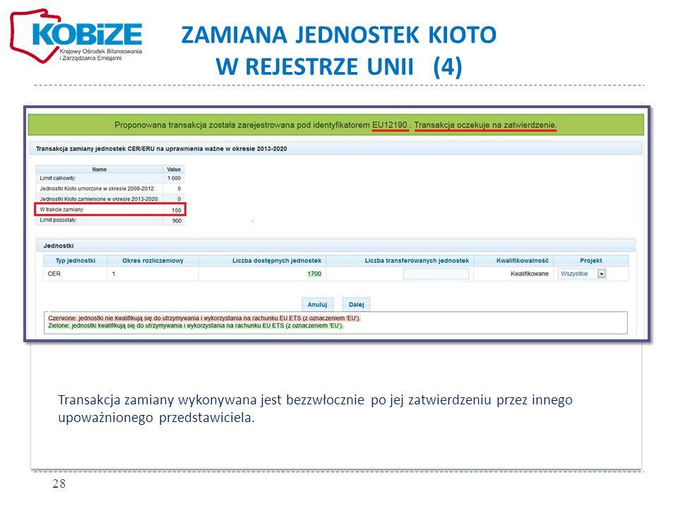ZAMIANA JEDNOSTEK KIOTO W REJESTRZE UNII (4) Transakcja zamiany wykonywana jest bezzwłocznie po jej zatwierdzeniu przez innego upoważnionego przedstaw