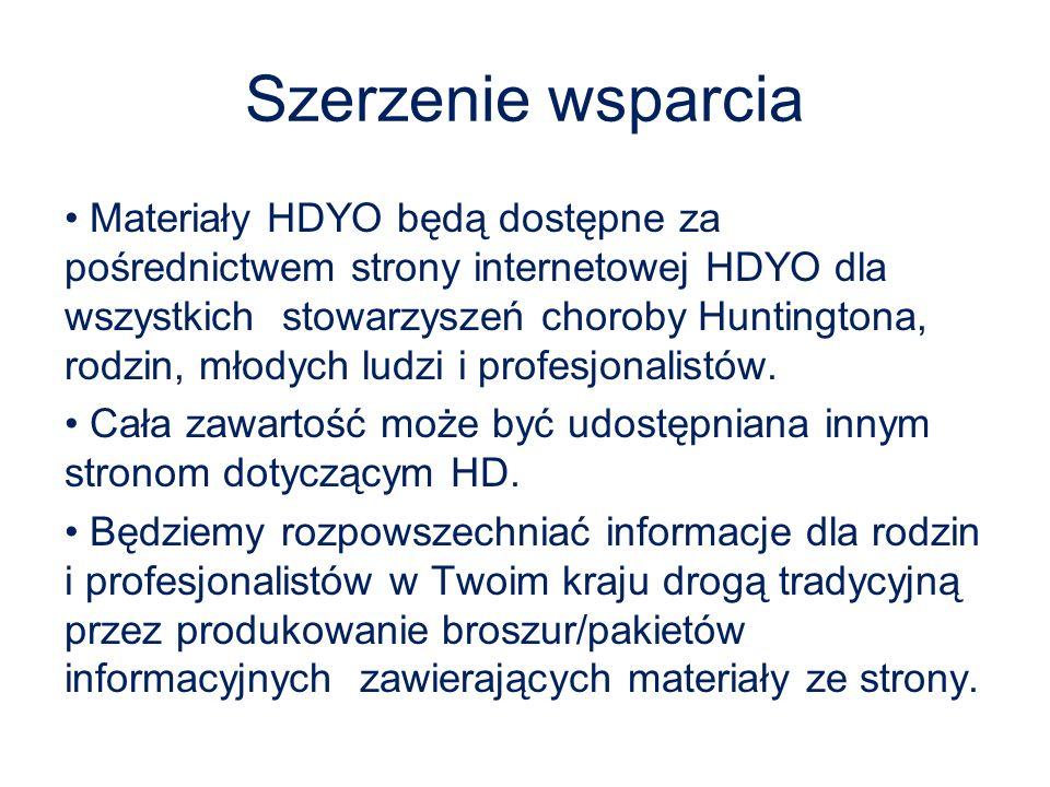 Szerzenie wsparcia Materiały HDYO będą dostępne za pośrednictwem strony internetowej HDYO dla wszystkich stowarzyszeń choroby Huntingtona, rodzin, mło