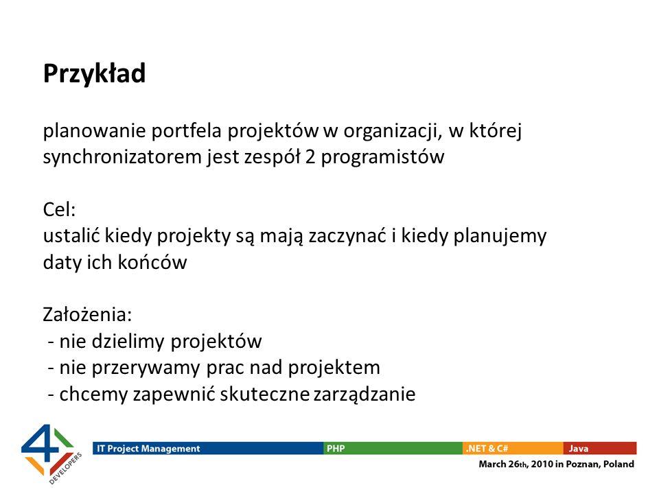 Przykład planowanie portfela projektów w organizacji, w której synchronizatorem jest zespół 2 programistów Cel: ustalić kiedy projekty są mają zaczyna