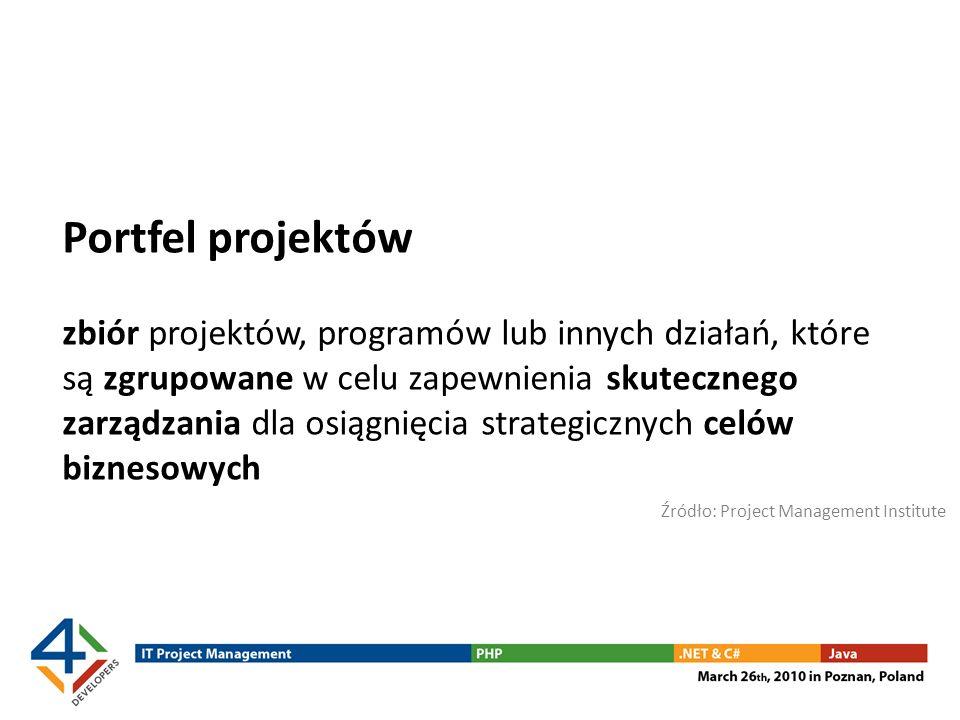 Portfel projektów zbiór projektów, programów lub innych działań, które są zgrupowane w celu zapewnienia skutecznego zarządzania dla osiągnięcia strate