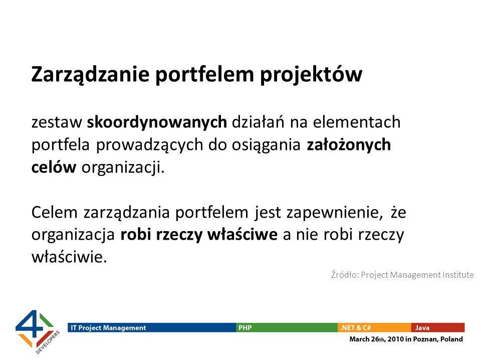 Zarządzanie portfelem projektów zestaw skoordynowanych działań na elementach portfela prowadzących do osiągania założonych celów organizacji. Celem za